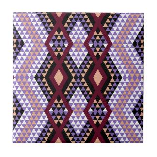 El Rhombus étnico los Andes diseña carmesí y púrpu Azulejo Cuadrado Pequeño