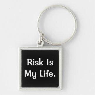 El riesgo es mi vida - el decir profundo del riesg llavero cuadrado plateado