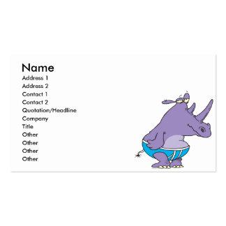 el rinoceronte tonto divertido en prendas íntimas tarjeta personal
