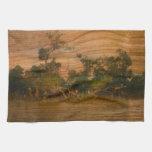 el río, arte de madera toalla