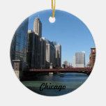El río Chicago Adorno Navideño Redondo De Cerámica