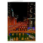 El río Chicago céntrico en la tarjeta de nota de l