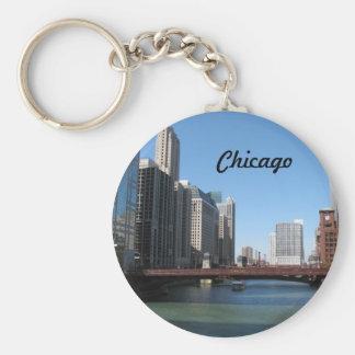 El río Chicago Llavero Redondo Tipo Pin