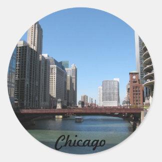 El río Chicago Pegatina Redonda