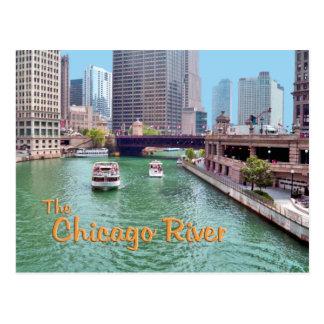 El río Chicago Tarjeta Postal