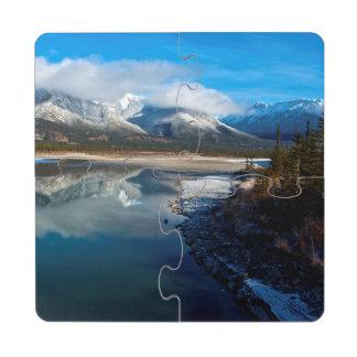 El río de Athabasca en parque nacional de jaspe Posavasos De Puzzle
