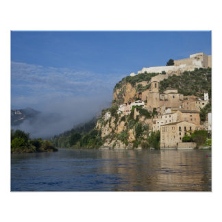 El río Ebro Ria Ebre Castillo de Templar temp Posters