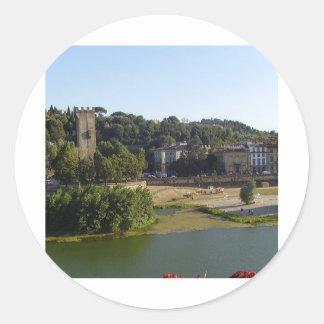 El río en Florencia Etiquetas Redondas