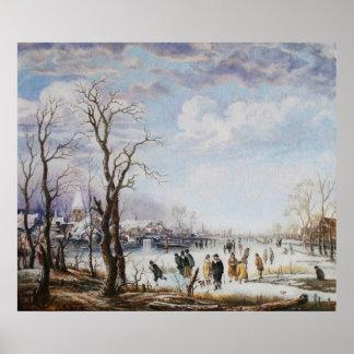 El río en poster del invierno