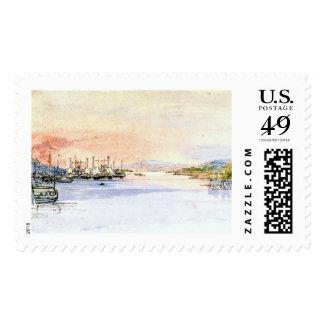 El río Hudson Albany Nueva York 1846 Sellos
