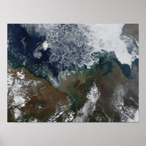 El río Mackenzie vacia en la bahía de Mackenzie Póster