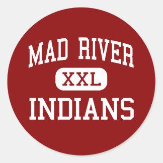 El río Mad - indios - escuela secundaria - Dayton Pegatina Redonda