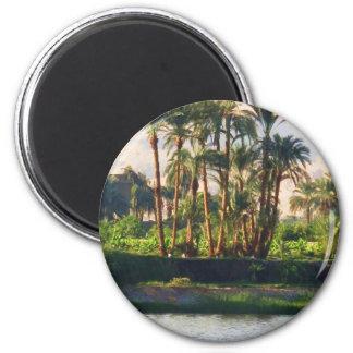 El río Nilo en Egipto, Luxor Imán Redondo 5 Cm