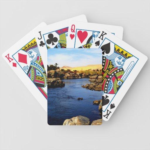 El río Nilo en el río de Asuán - desierto del Sáha Baraja Cartas De Poker