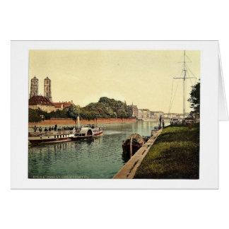 El río Óder, con la isla de la catedral, Breslau,  Tarjeta De Felicitación