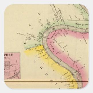 El río Ohio y valle superiores 3 Pegatina Cuadrada
