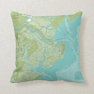 El río Savannah, isla de Tybee, almohada de los