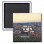 El río y el Ponte Vecchio de Arno en Florencia, Imán De Frigorifico