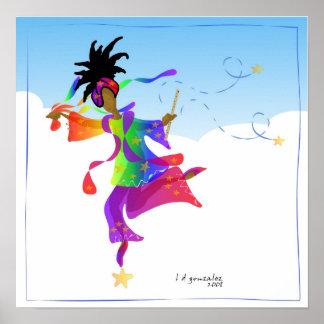 El rito de un bailarín a saltar poster