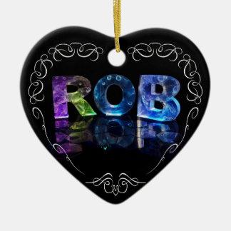 El Rob conocido en 3D se enciende (la fotografía) Adorno Navideño De Cerámica En Forma De Corazón