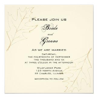 El roble del otoño sale de la invitación del boda