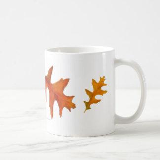 El roble del otoño sale de la taza