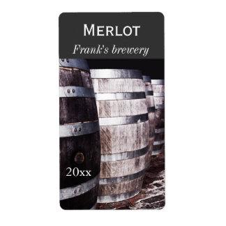 El roble del vino barrels la etiqueta de la botell etiquetas de envío