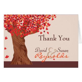 El roble romántico del amor del otoño le agradece tarjeta pequeña