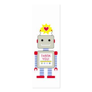 El robot agradece etiquetas del regalo tarjetas de visita mini