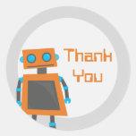 El robot anaranjado le agradece los pegatinas pegatina redonda