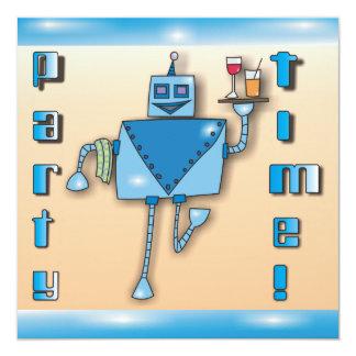 """El robot azul del camarero con la bandeja de invitación 5.25"""" x 5.25"""""""