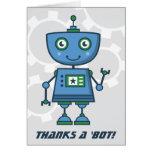 ¡El robot azul le agradece carda gracias del | un  Felicitación