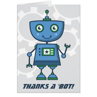 ¡El robot azul le agradece carda gracias del | un Tarjeta Pequeña
