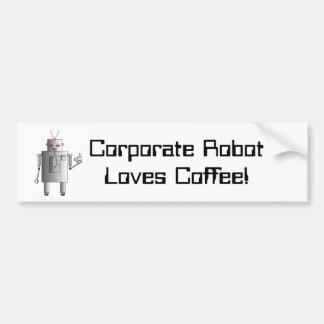 El robot corporativo ama el café, divertido retro etiqueta de parachoque
