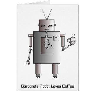 El robot corporativo ama el café, divertido retro