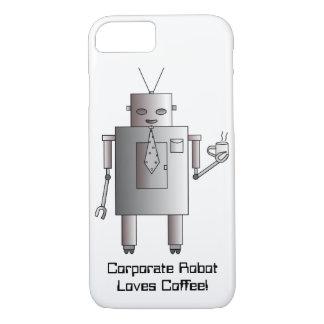 El robot corporativo ama el café, robot retro del funda iPhone 7