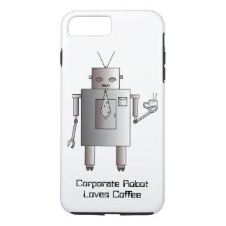 El robot corporativo ama el café, robot retro del funda iPhone 7 plus