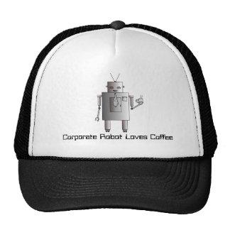 El robot corporativo ama el café, robot retro del gorras de camionero