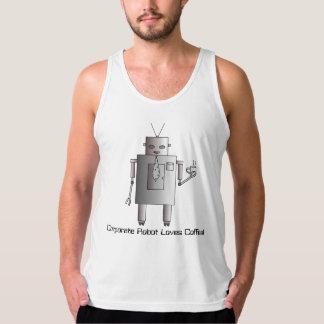 El robot corporativo ama el café, robot retro del playera de tirantes