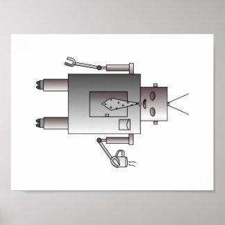 El robot corporativo ama el café, robot retro del póster