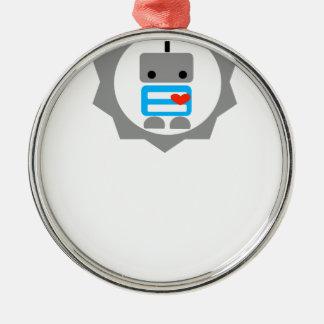 ¡El robot! Adorno Redondo Plateado