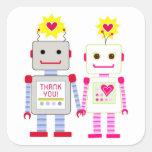 El robot le agradece los pegatinas