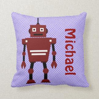 El robot lindo, azul blanco rojo, añade nombre cojín
