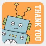 El robot lindo le agradece los pegatinas calcomanias cuadradas