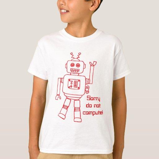 ¡El robot no computa! la diversión roja embroma la Playera