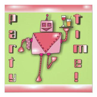El robot rosado del camarero con la bandeja de invitación 13,3 cm x 13,3cm