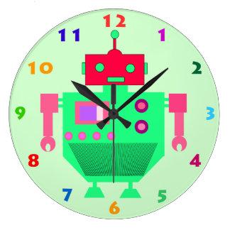 El ROBOT VERDE COLORIDO embroma el reloj de pared