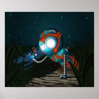 El robot y la mariposa póster