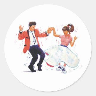 El rock-and-roll clásico Jive el baile Pegatinas Redondas