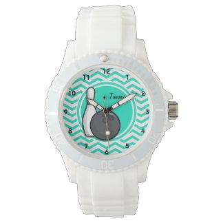 El rodar; Aguamarina Chevron verde Reloj De Mano